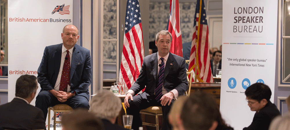 a fireside chat with nigel farage and mark thompson london speaker bureau. Black Bedroom Furniture Sets. Home Design Ideas